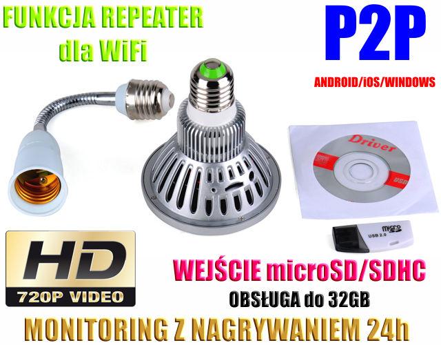 4f4e06f8bce57f Kamera HD WiFi/P2P Ukryta w Żarówce (zasięg cały świat!) + Zapis itd.