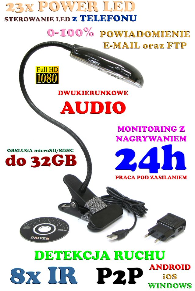 834dc47381f936 Mikro-Kamera Full HD WiFi/P2P (Cały Świat!) Ukryta w Lampce Biurkowej +  Zapis + Detekcja Ruchu.